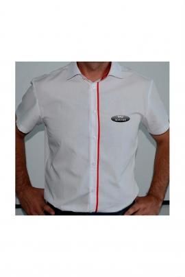 Белая классическая приталенная мужская сорочка, короткий рукав СЧ-19 к/р уз